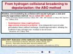 from hydrogen collisional broadening to depolarization the abo method
