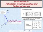 short remind 1 polarization matrix of radiation and stokes parameters
