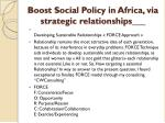 boost social policy in africa via strategic relationships