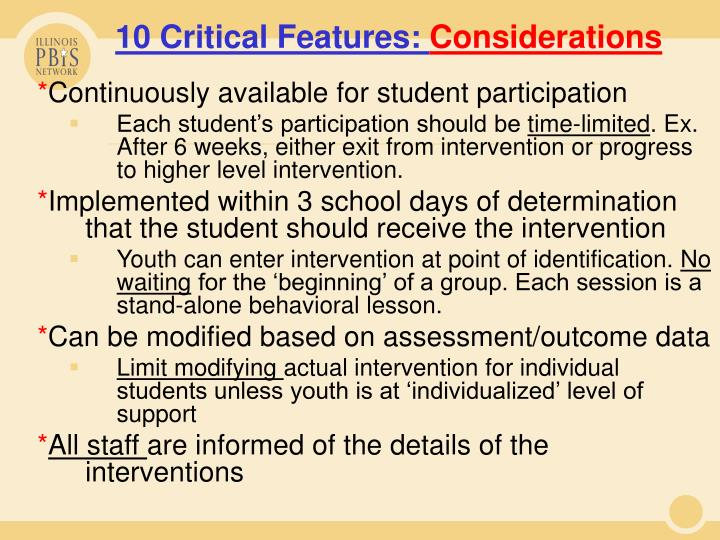10 Critical Features:
