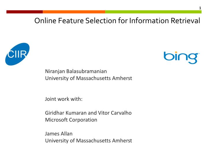 online feature selection for information retrieval n.