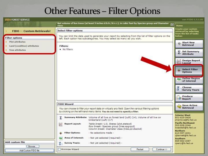 other features filter options n.