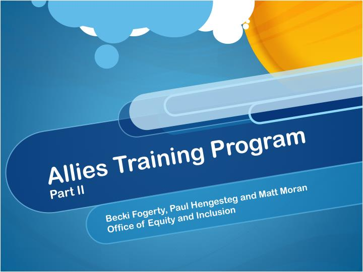 allies training program part ii n.