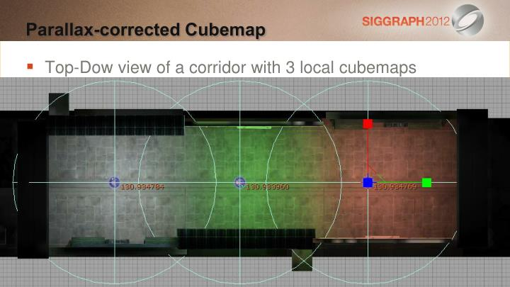 Top-Dow view of a corridor with 3 local cubemaps