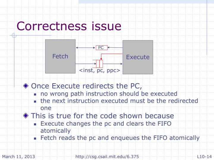 Correctness issue