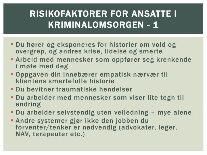 Risikofaktorer for