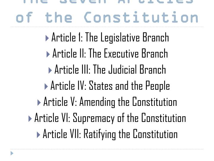 The Seven Articles of the Constitution