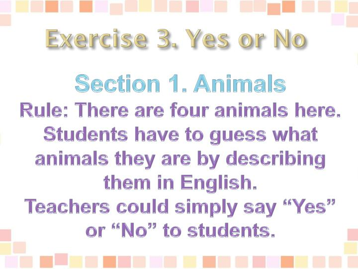 Exercise 3. Yes or No