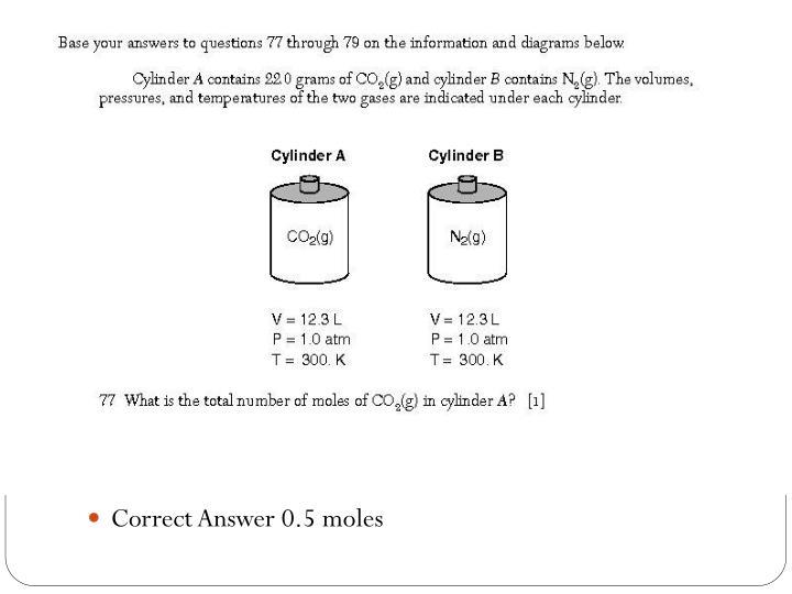 Correct Answer 0.5 moles