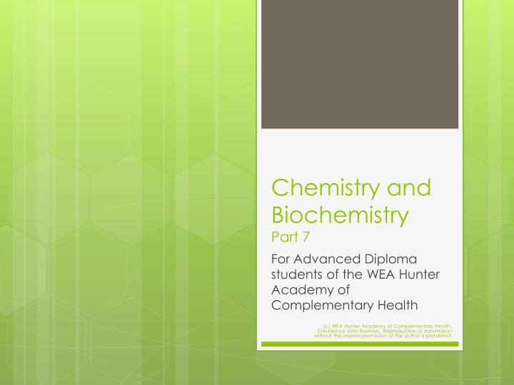 chemistry and biochemistry part 7 n.
