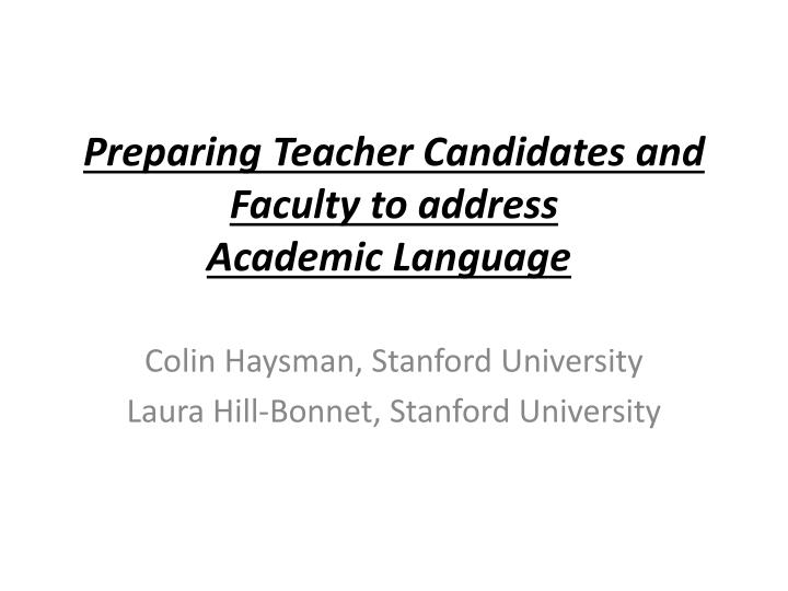 preparing teacher candidates and faculty to address academic language n.