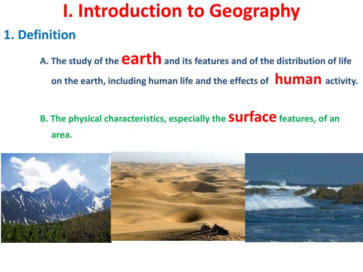i introduction to geography n.
