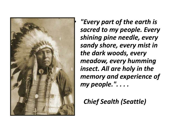 """""""Every part of the earth is sacred to my people. Every shining pine needle, every sandy shore, every mist in the dark woods, every meadow, every humming insect. All are holy in the memory and experience of my people."""". . . ."""