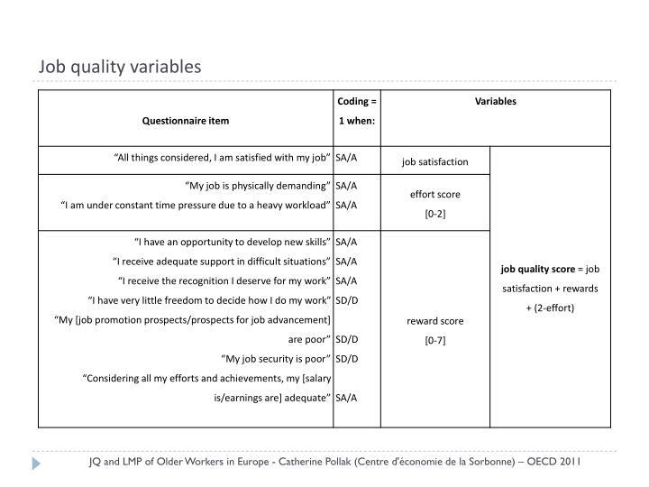 Job quality variables