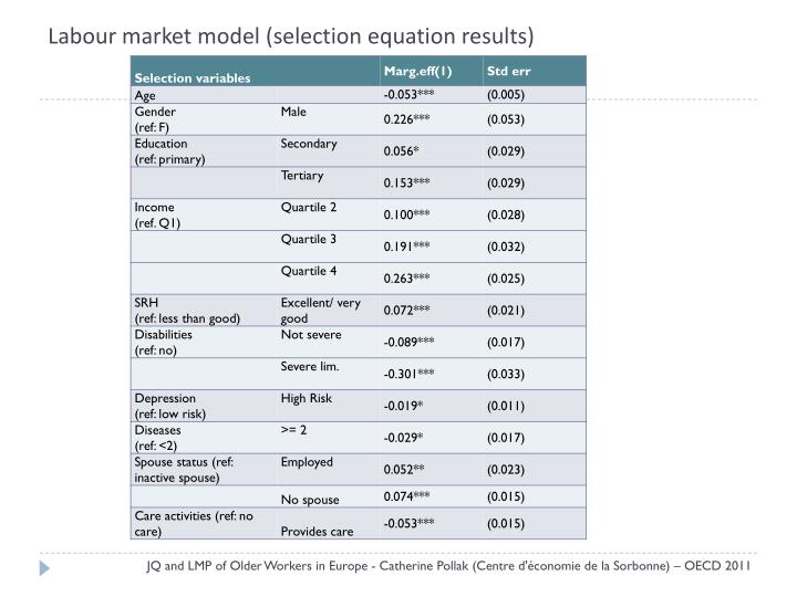 Labour market model (selection equation results)