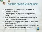 considerations for nsf