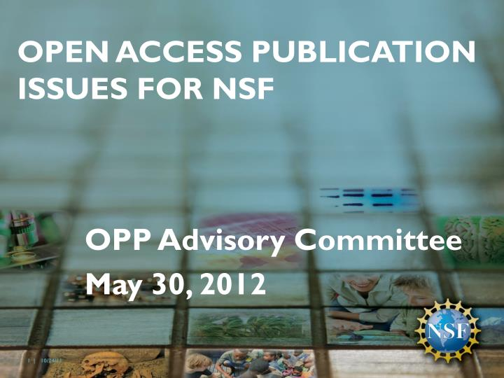 open access publication issues for nsf n.