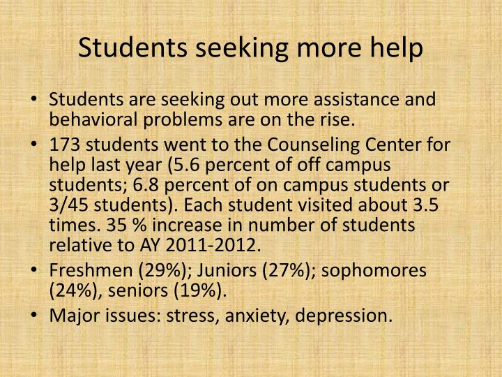 Students seeking more help