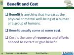 benefit and cost