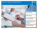 value of health assessments