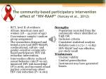 the community based participatory intervention effect of hiv raap yancey et al 2012