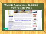 website resources quicklink from parents page