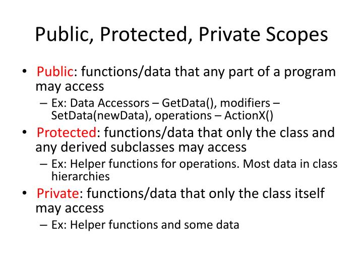 Public, Protected, Private Scopes