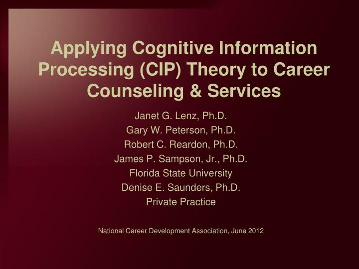 applying cognitive information processing cip theory to career counseling services n.