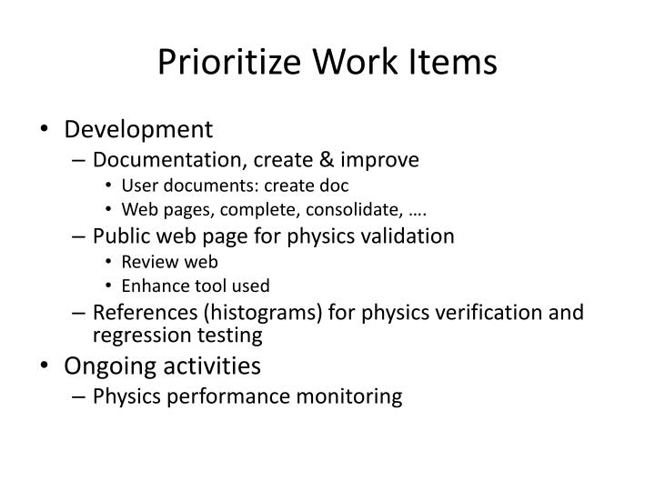 Prioritize Work Items