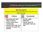 criteria versus constraints