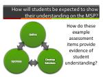how will students be expected to show their understanding on the msp