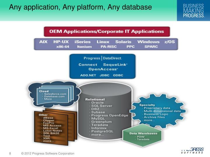 Any application, Any platform, Any database