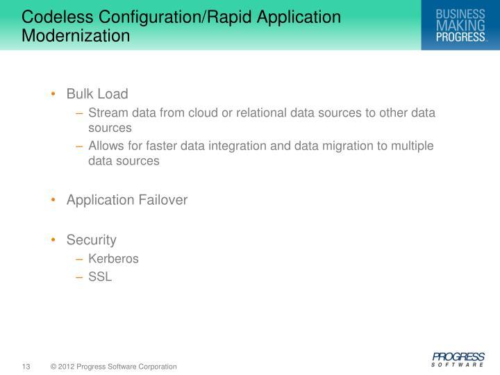 Codeless Configuration/Rapid Application Modernization