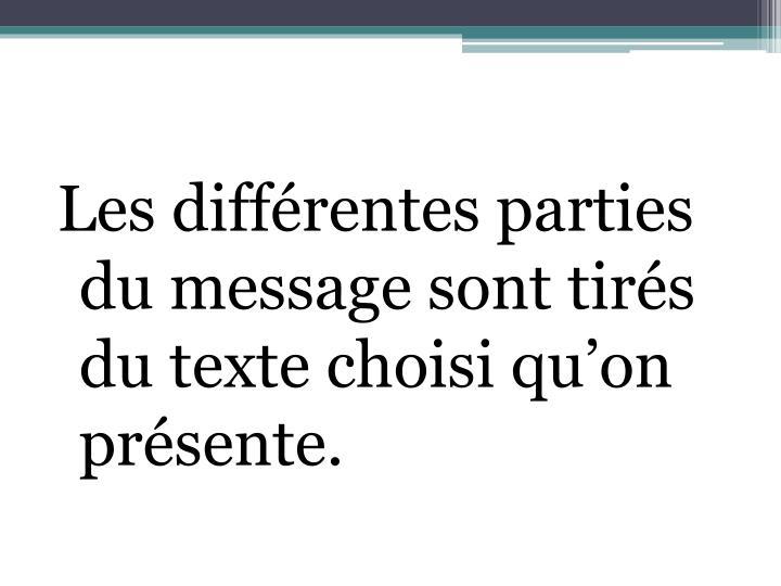 Les différentes parties du message sont tirés du texte choisi qu'on présente.