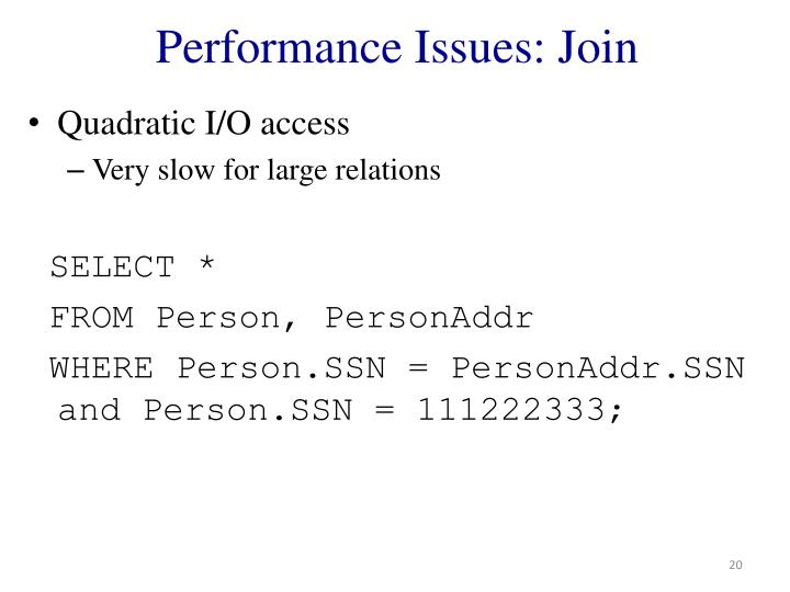 Performance Issues: Join