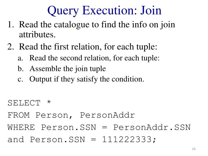 Query Execution: Join