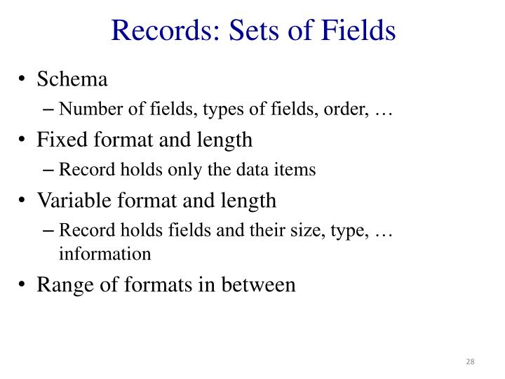 Records: Sets of Fields