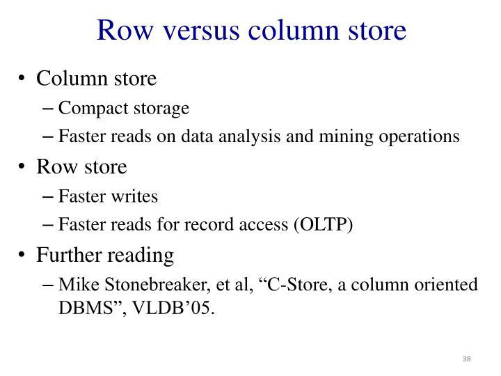 Row versus column store