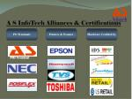 a s infotech alliances certifications