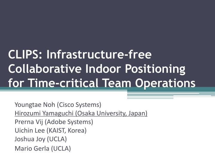 clips infrastructure free collaborative indoor positioning for time critical team operations n.