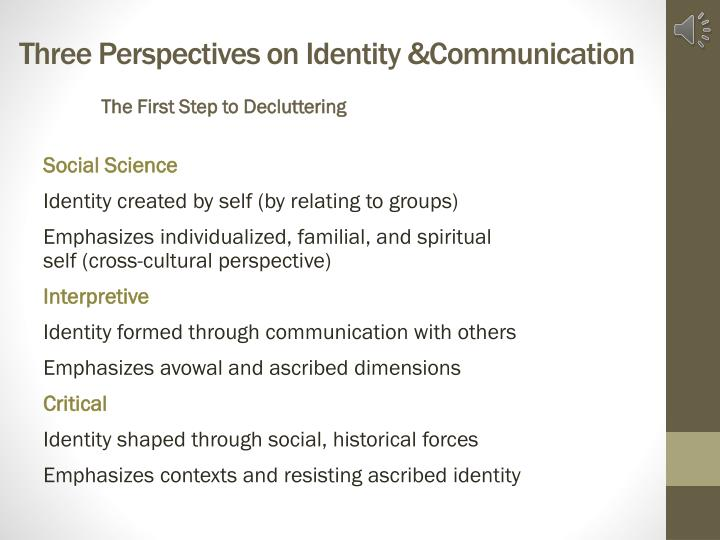 Three Perspectives on Identity &Communication