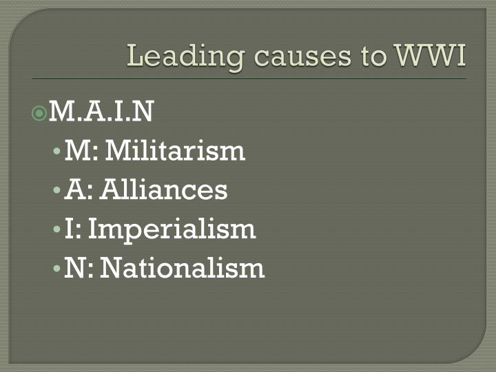 Leading causes to WWI