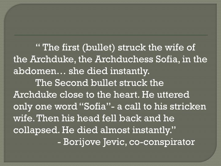 """ The first (bullet) struck the wife of the Archduke, the Archduchess Sofia, in the abdomen… she died instantly."