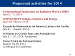 propossed activities for 2014