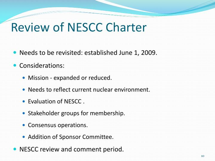 Review of NESCC Charter