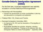 canada ontario immigration agreement coia