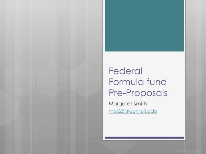 Federal Formula fund