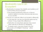 biodiversity loss in an ecosystem