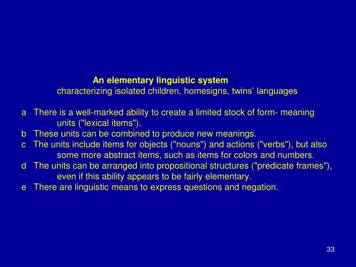 An elementary linguistic system