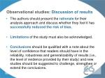 observational studies discussion of results1